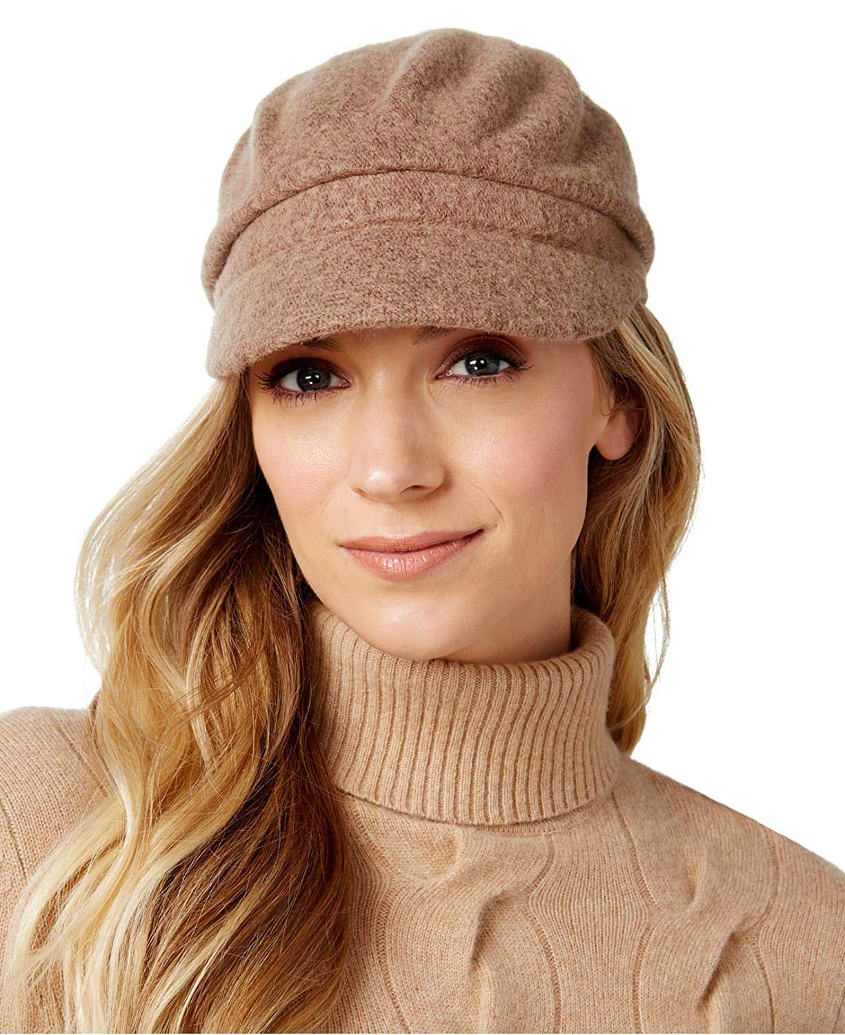 0e32f5b215a Get Quotations · August Hats Womens Solid Melton Modboy Cap One Size Camel