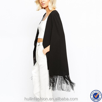 9612af60dc alibaba trust pass ladies kimono cardigan with tassel women black chiffon  blouses summer casual women cape