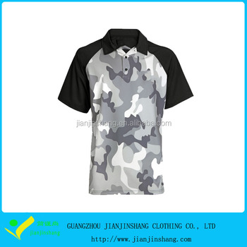e3c74f17 Sublimated Camouflage Raglan Sleeve Mens Golf Patterned Polo Shirts ...