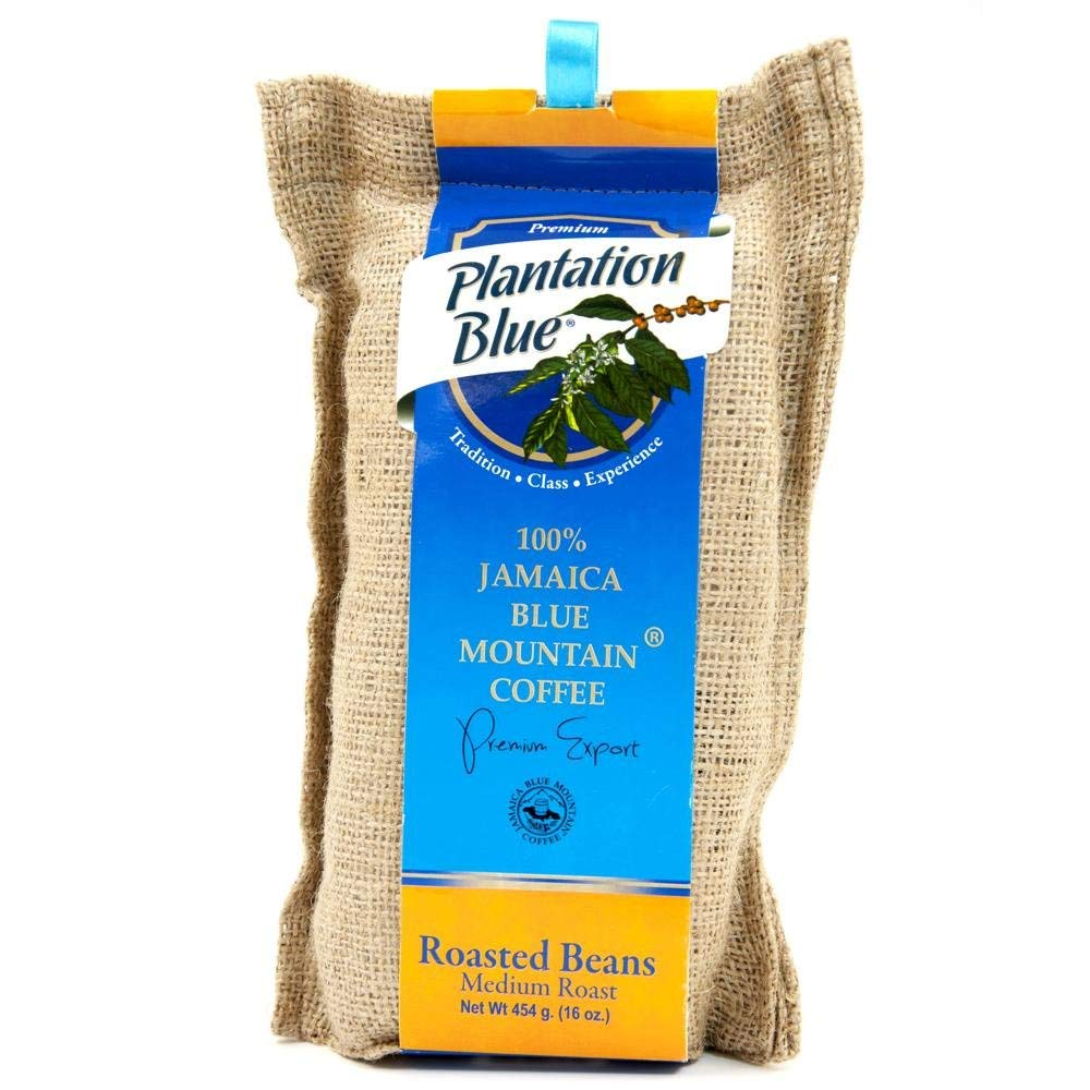 PLANTATION BLUE Jamaica Blue Mountain Coffee 100% Fresh Blue Mountain Coffee Medium Roasted Whole Beans - 16oz (1lb)