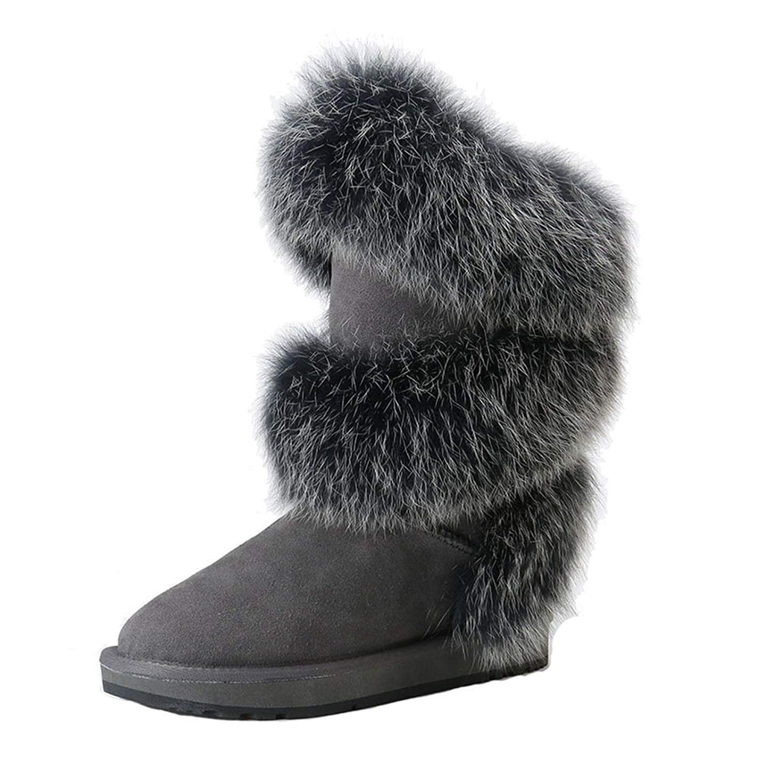 e754aabf3ec Get Quotations · INOE CREATE GLAMOUR Real Fox Fur Sheepskin Lined Boots For  Women Sheep Fur Lining Winter Snow