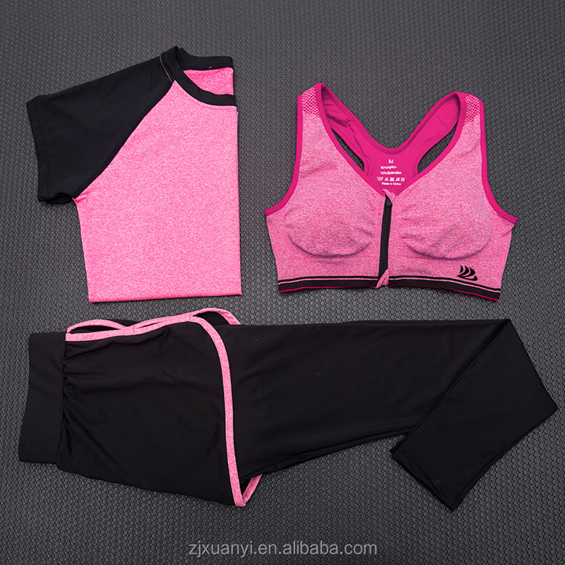 special price women yoga suits sports bra leggings tshirts sets 3pcs seamless sports wear gym wear with more colors