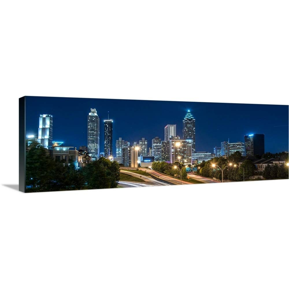 """GREATBIGCANVAS Gallery-Wrapped Canvas Entitled Atlanta, Georgia, Skyline at Night by Circle Capture 48""""x16"""""""