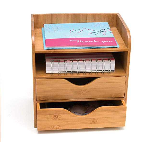 Bamboo Desk Supplies Organizer with 2 Drawers