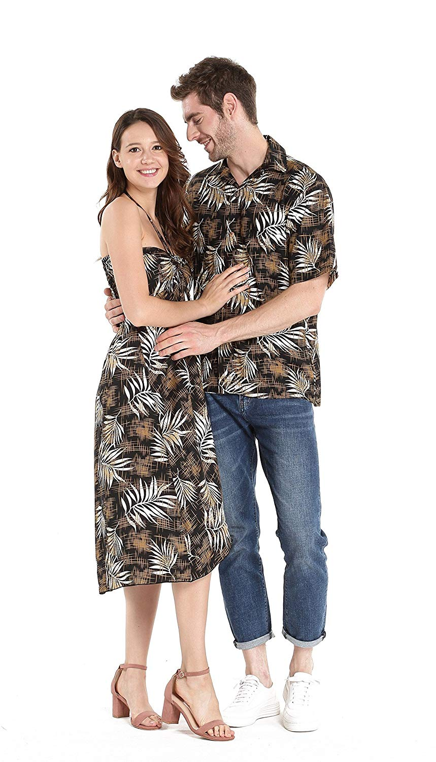 fa5e0faec Get Quotations · Couple Matching Hawaiian Luau Cruise Party Outfit Shirt  Dress in Hibiscus Red