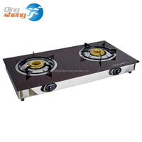 Hot brand Tempered Glass with Red Flower double Burner Gas Cooker