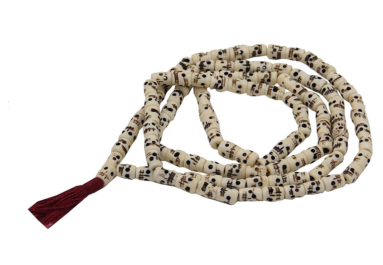 DharmaObjects Tibetan Yak Bone Yogi 108 Beads SKULL Mala