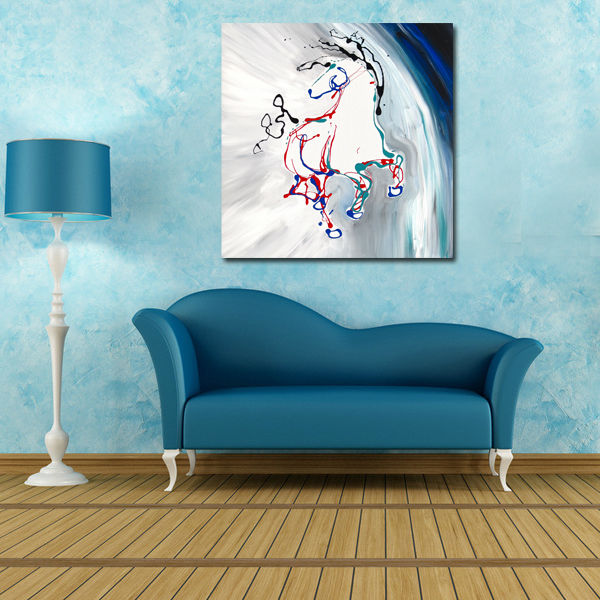 Original Horse Portrait Abstract Animal Oil Painting