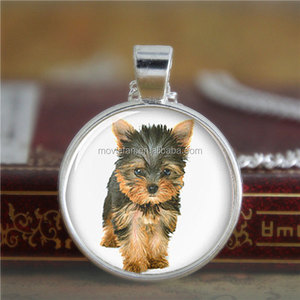Yorkie necklace Yorkshire Terrier cute dog necklaces Glass Photo dog necklace