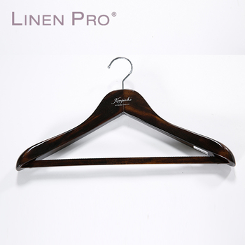 High Quality Logo Printed Hotel Supplies Wooden Clothes Hanger For Hotel