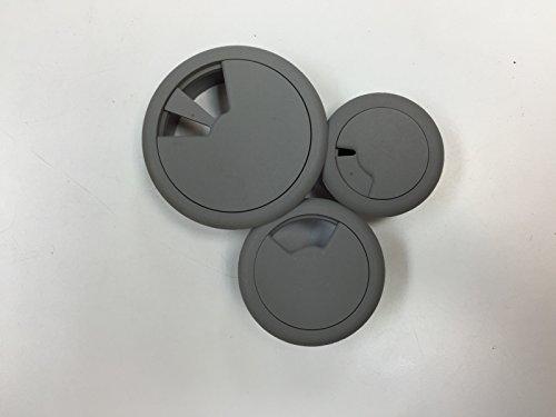 """3-Pack Round Desk Grommet Kit - Sizes 2"""",2.375"""" & 3.125"""", Plastic, Color: Light Gray"""
