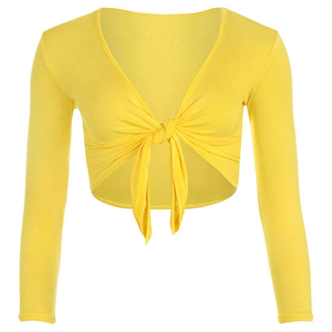 FASHION FAIRIES Ladies Womens Plain Long Sleeve Tie up Front Cropped Shrug Bolero Cardigan Top