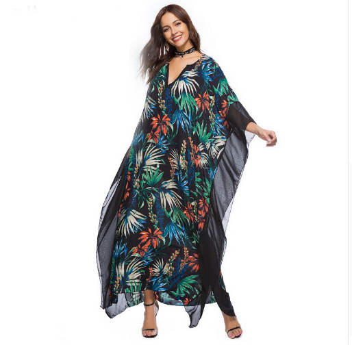 Alibaba.com / Boho Tropical Floral Print Summer Long Maxi Dress Women Batwing Sleeve V Neck Loose Beach Tunic Dresses Vestidos
