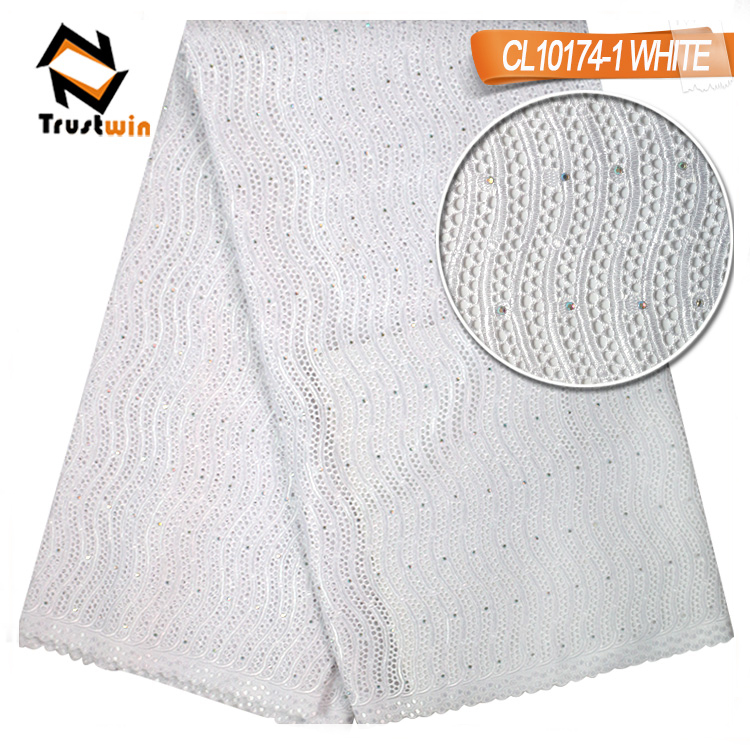 wholesale Nigerian  for Women  high quality white swiss voile lace fabric
