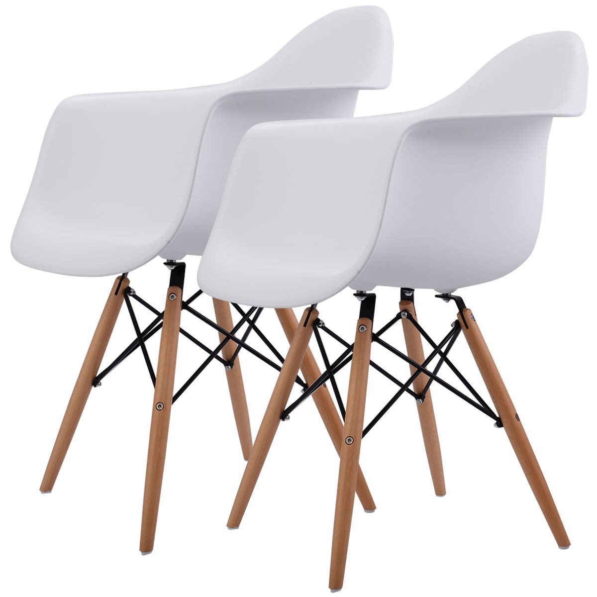 Set of 2 Mid Century Modern Molded Eames Style Dining Arm Chair Wood Legs - Dining Height Side Chair With Wood Base - Comfortable And Stylish - Mid-Century Looks, Perfect For Any Room In Your Home