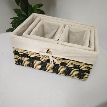 Eco Friendly Paper Rope Handmade Weaving Gift Basket Decorate Flower Cane  Basket