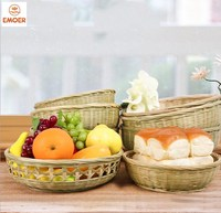 Top Quality Bamboo weaving Fruit and Vegetable egg bread food Baskets for Supermarket Displays