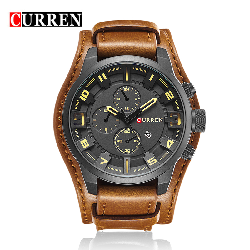 New Male Business Wristwatch Date Clock Vintage Leather Military Quartz Fashion Waterproof Luxury Curren Brand 8225 Men Watch фото