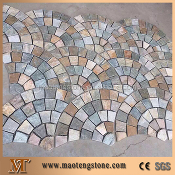 Kulturellen Schiefer Garten Boden Fliesen Design Steinplatte Matte  Gittersteinplatten