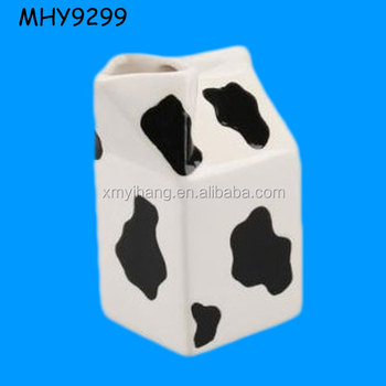 Whole Milk Carton Shape Ceramic Jug Porcelain