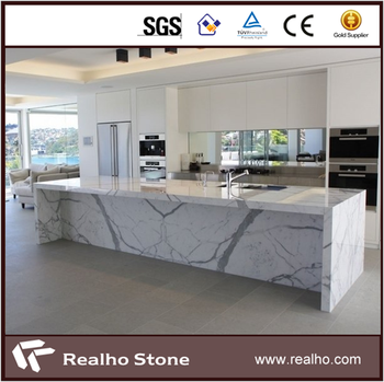 Eased Edge Calacatta White Marble Kitchen Countertop Product On