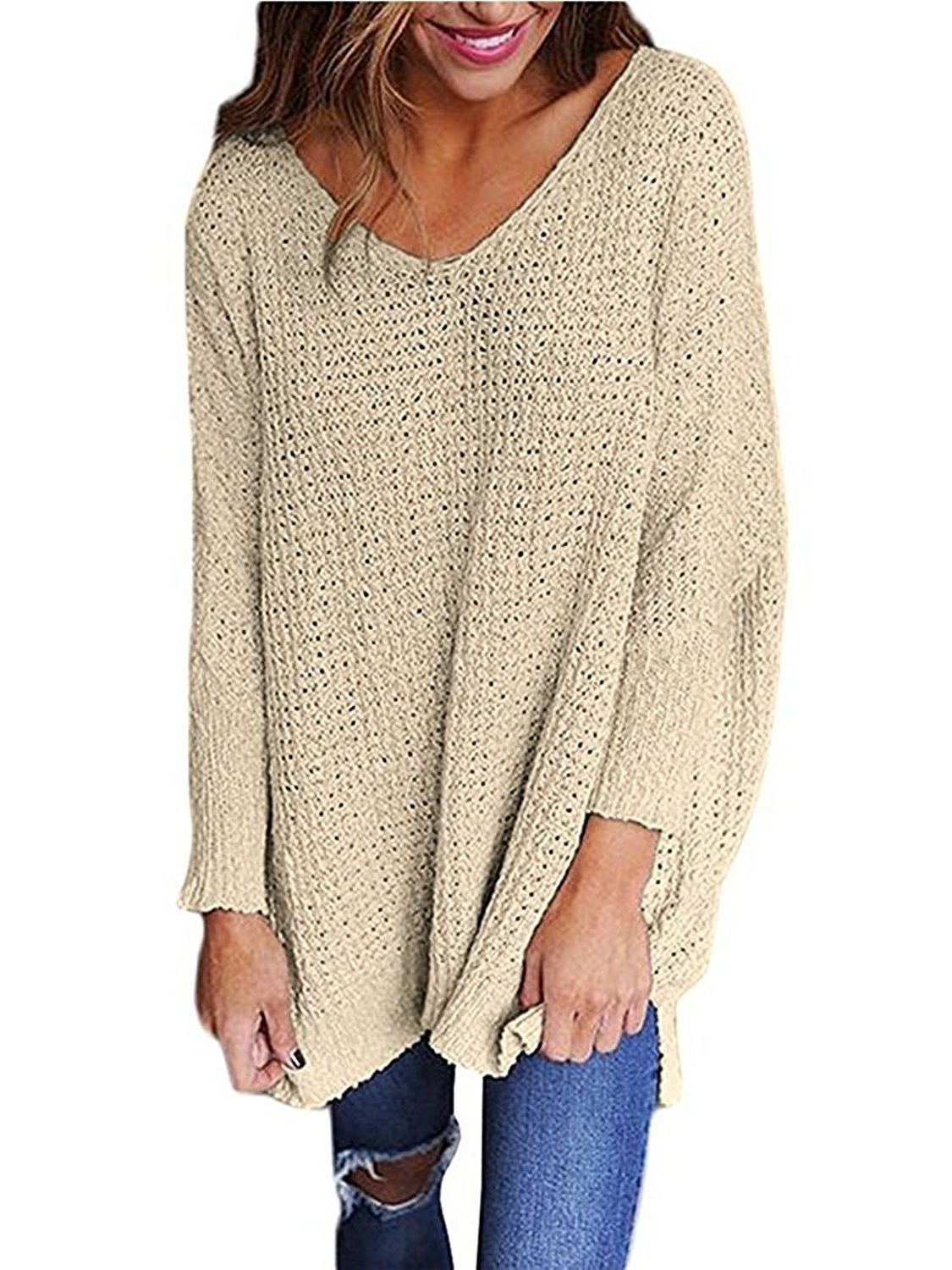 Get Quotations · BLENCOT Womens Oversized V Neck Long Sleeve Baggy Knitted  Sweater Pullover Tops Jumper f9590aba8
