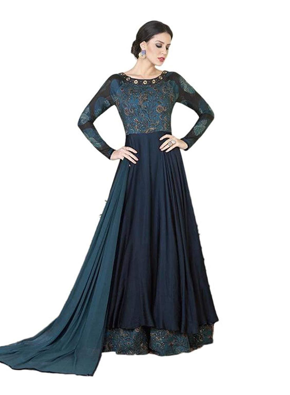 ec774ae6e Get Quotations · CRAZYBACHAT Indian Ethnic Designer Exclusive Blue Color Salwar  Suit Dress Materials