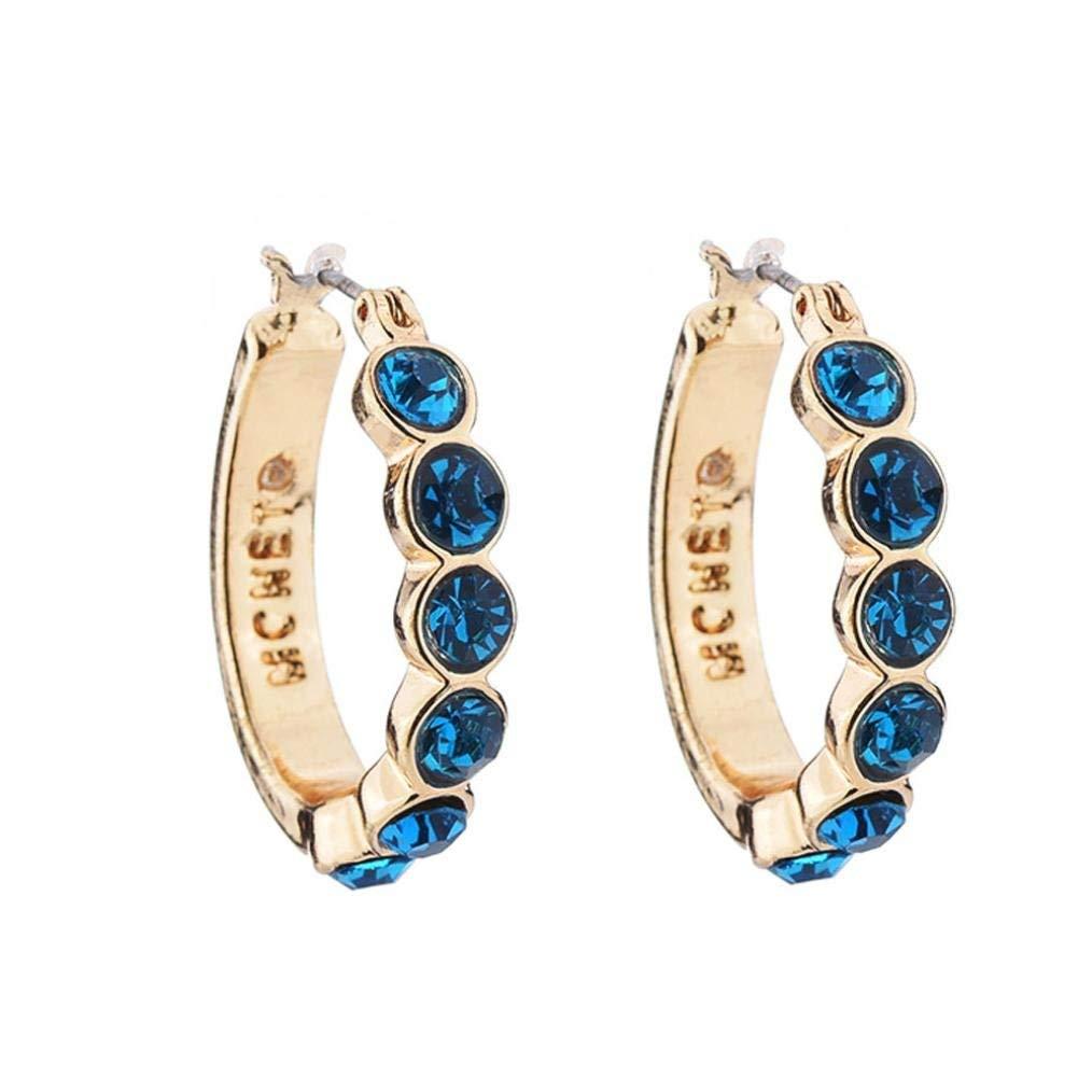 Clearance Deal! Hot Sale! Earring, Fitfulvan 2018 Women Fashion Crystal Rhinestone Round-shaped Ear Stud Earrings (Blue)