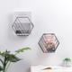 Iron Hexagonal Grid Wall Rack Wall Hanging Geometric Shelf