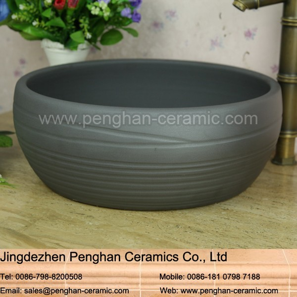 China above counter small size fancy bathroom ceramic black wash basin