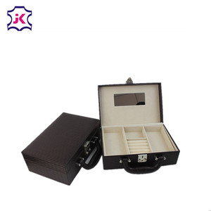 Leather large mirrored safe jewellery jewelry box organiser with logo
