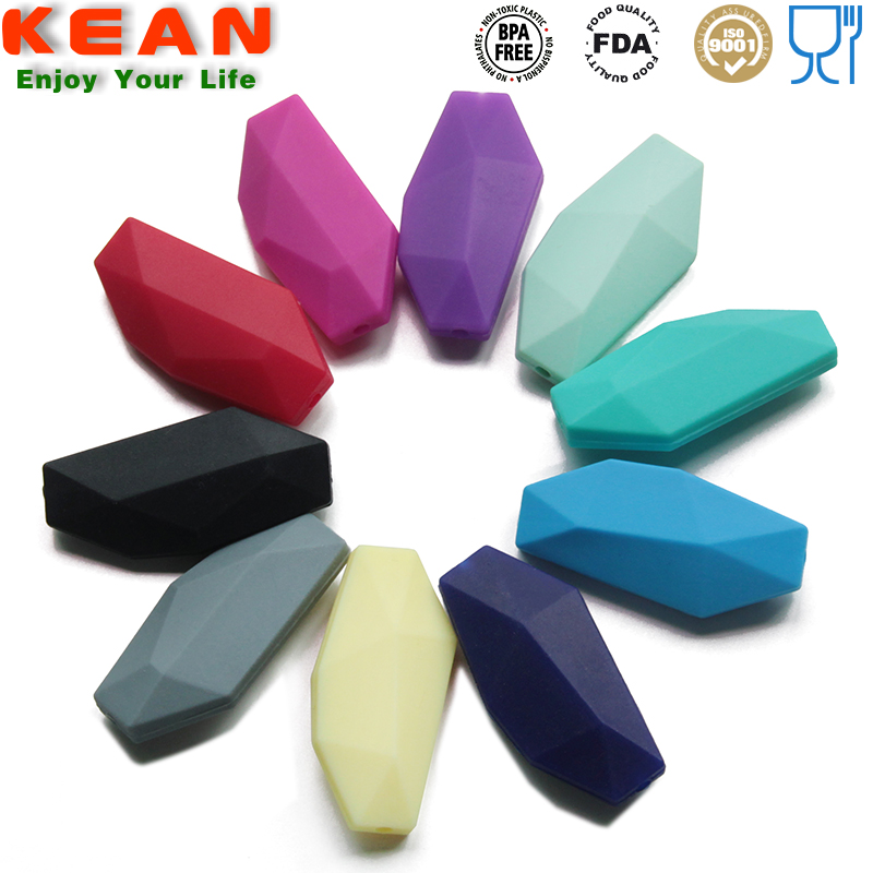Wholesale BPA Free FDA Good Grade polygon silicone Loose beads