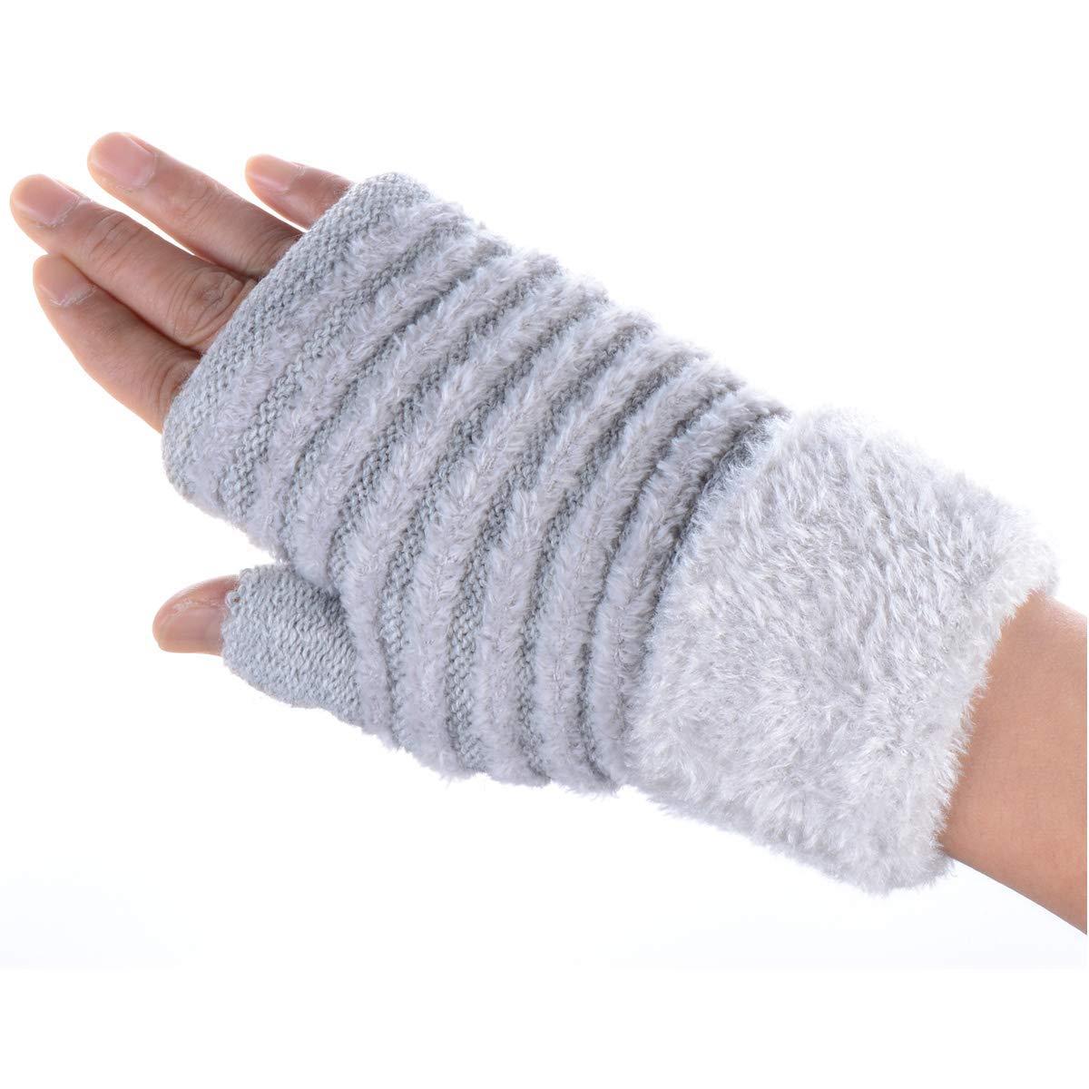 BYOS Women Winter Warm Soft Plush Faux Fur Fleece Lined Knit Fingerless Gloves W/Faux Fur Cuff, Many Styles