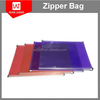 Customized size Plastic Transparent Clear PVC zip lock bag with plastic slider & business card holder