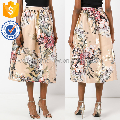 A-line Blooming Colorful Floral Print Apricot Basic Maxi Skirts For Ladies Manufacture Wholesale Fashion Women Apparel (TE0148k)