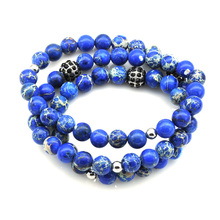 Stainless Steel Bead 8mm Blue Multilayer Emperor Stone Bracelet with Crystal Ball