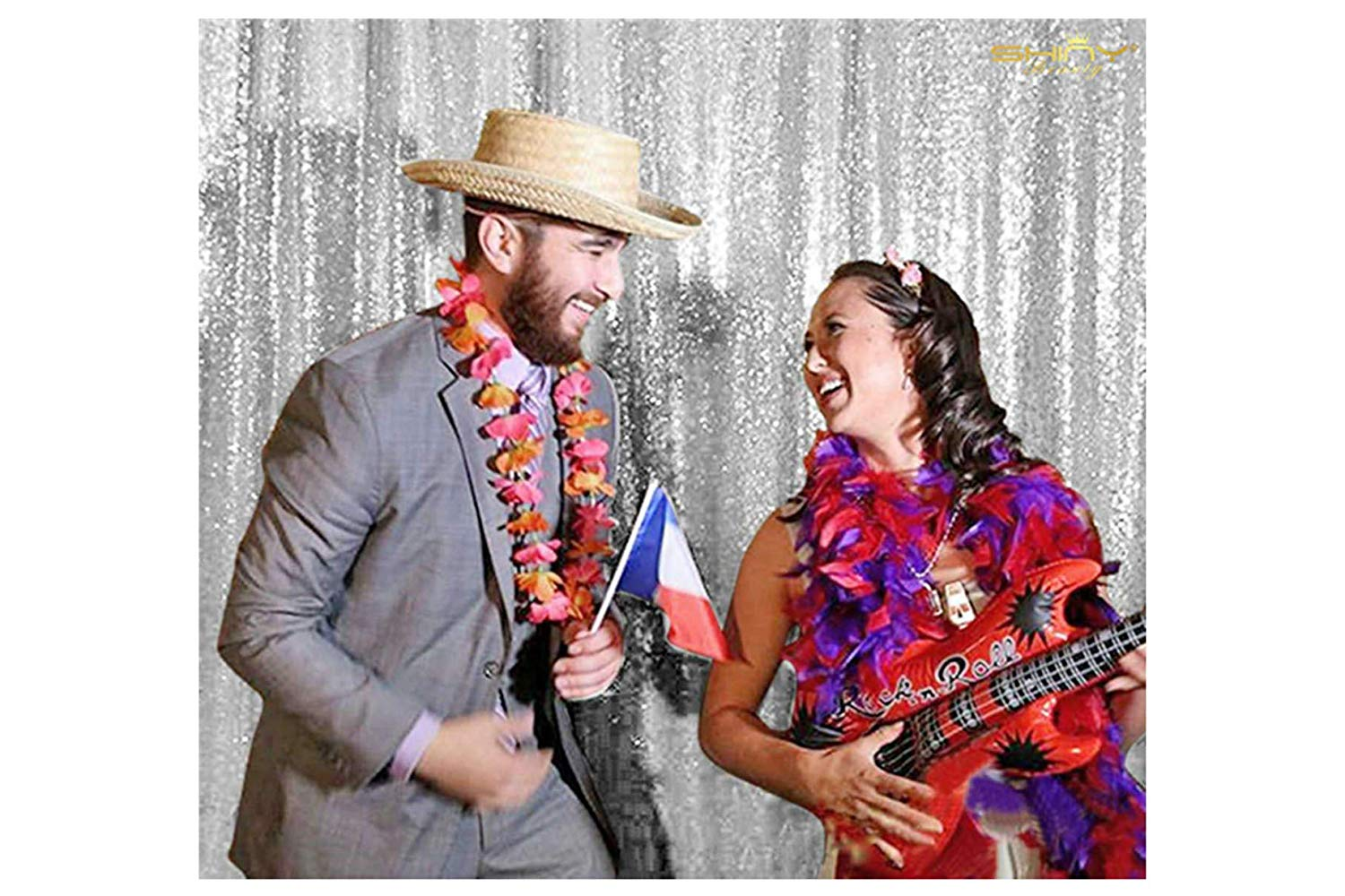 Sequin Curtain-Backdrop-4FTX6FT-Silver-Photo Booth Panel, Ceremony Glitz Photo Booth Backdrop,Sequence Backdrop for Wedding