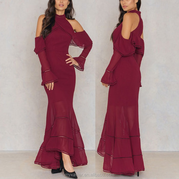 b86dde19709 Flared cuffs long sleeves high neck cold shoulder design holiday gown  evening dress with ruffle details