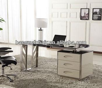 Stainless Steel Glass Top Modern Computer Desks Lh 257f Buy Modern
