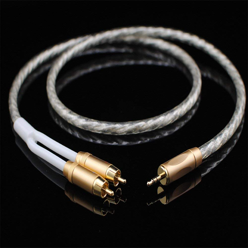 MCA Silver-Plated Audio Cable Stereo 3.5mm to 2RCA -0.5M (1.5 Feet) Hi Fi for Audiophile,Connect Phone MP3 CD PC to Amplifier