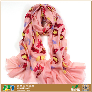 Women's warm long shawl winter large pink scarf colorful butterfly print infinity 100% wool scarves and shawls