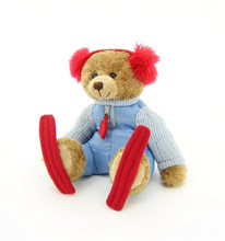 high quality cheap price custom Soft Plush teddy bear toys skiing bear with earmuffs