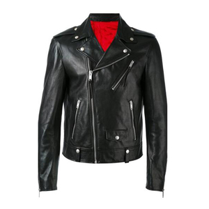 Black calf leather biker centre front zip long slim sleeves silver-tone metal details leather jacket