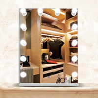 12pcs led bulbs multiple color MDF touch screen LED cheap hollywood makeup vanity mirror