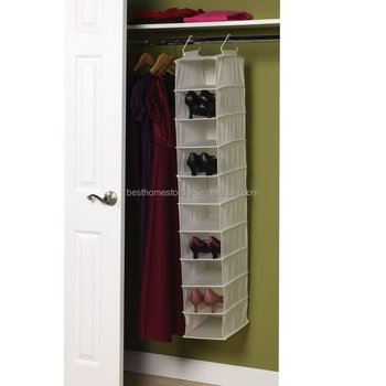 Good Canvas Soft Storage Hanging Shoe Shelves Organizer With 10 Shelf