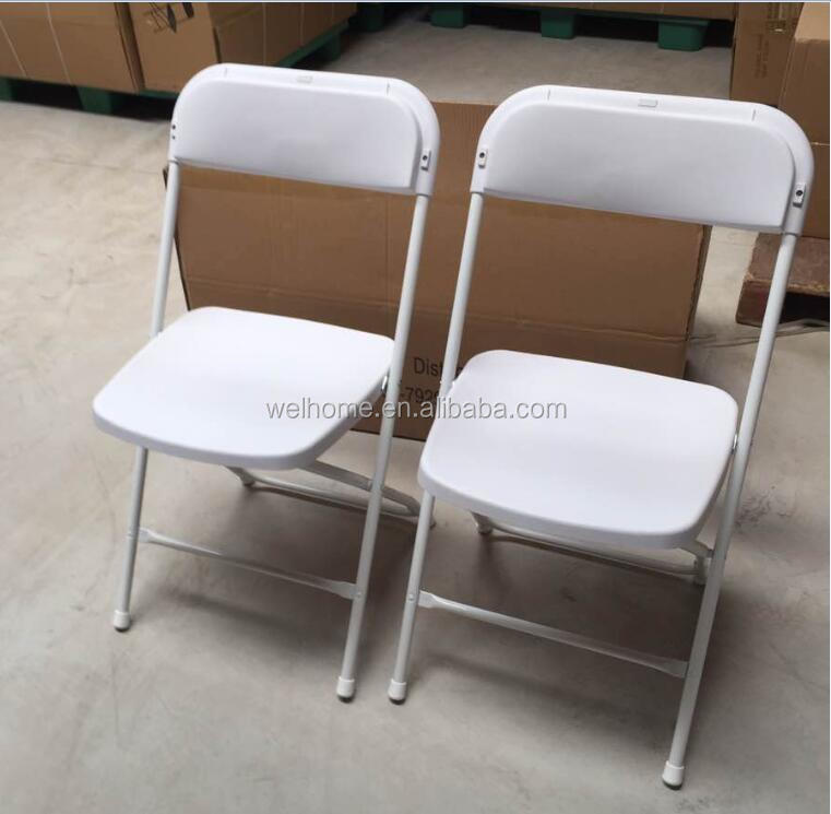 Cheap steel frame white plastic folding chair for weddings