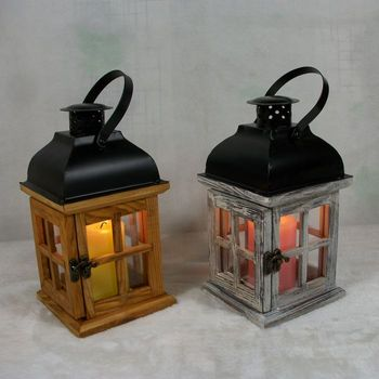 large wooden candle holder glass lantern lamp christmas chic rustic natural