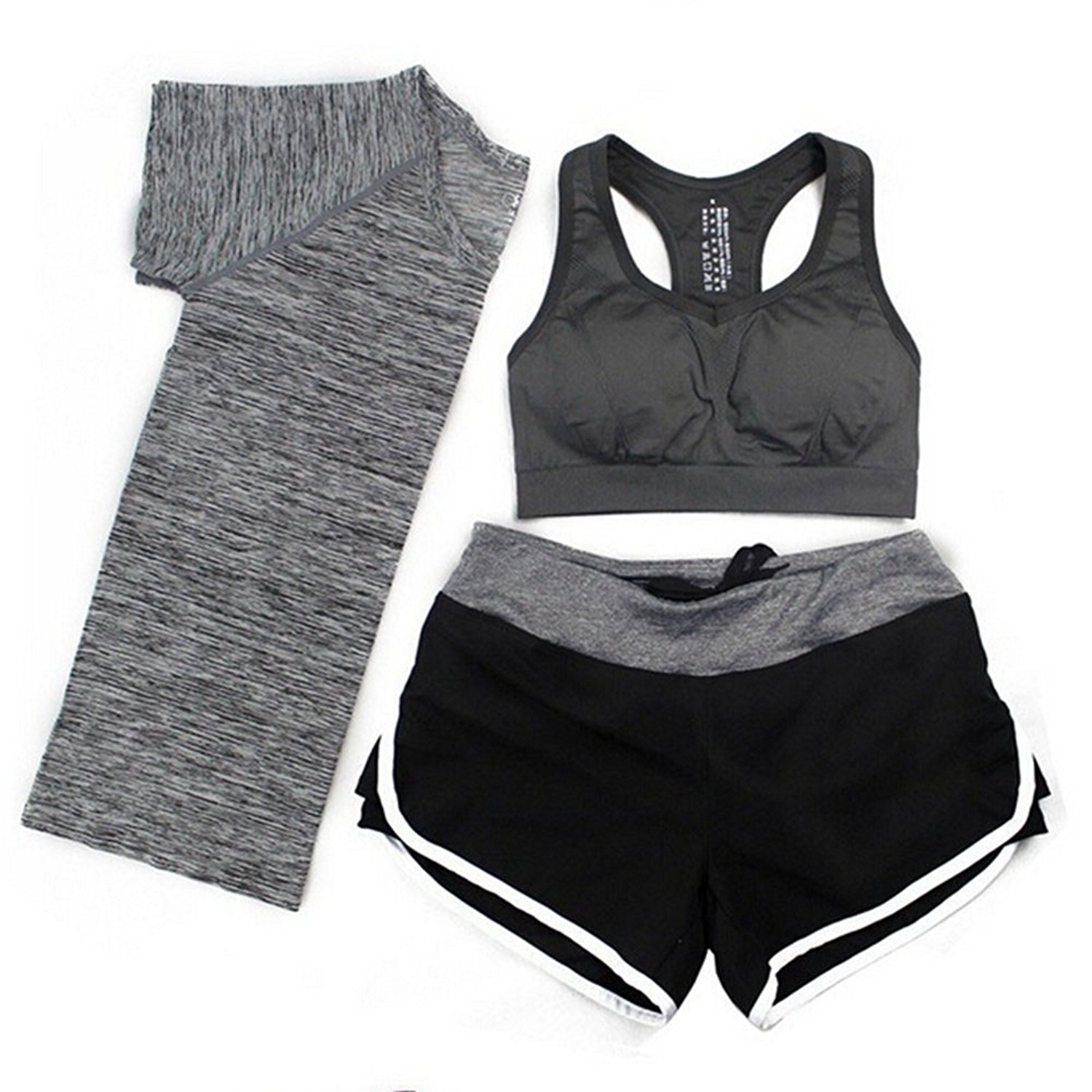 ec5e541d6d Get Quotations · jielimian 3pcs lady sport set gym yoga suit t-shirt sport  bra and shorts sets