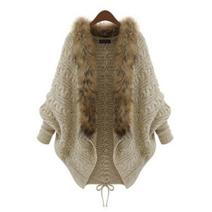 Fashion Women Faux Fur Collar Coat mink Batwing Sleeve Loose Casual Warm Cardigan Shawl Sweater