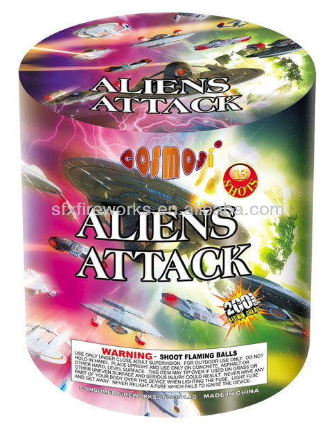 ALIENS ATTACK 13 SHOTS round shape 200g cakes fireworks